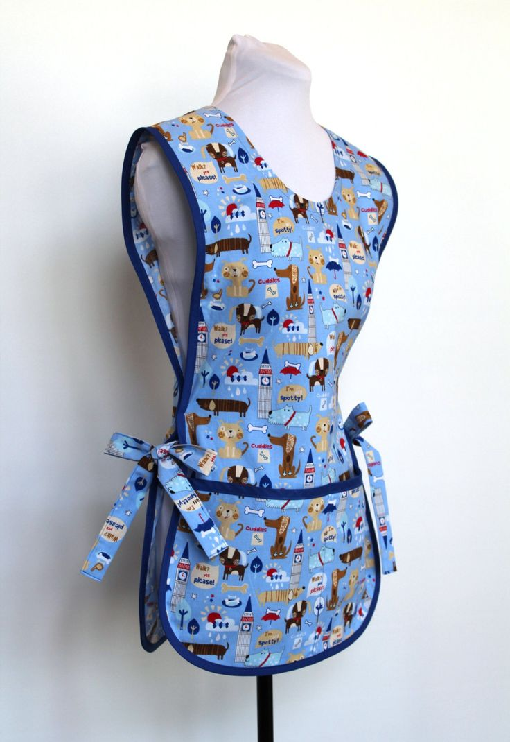 Novelty Londoners Dog Theme Cobbler Smock Style Cotton Apron with two pockets by MitzieAprons4u on Etsy