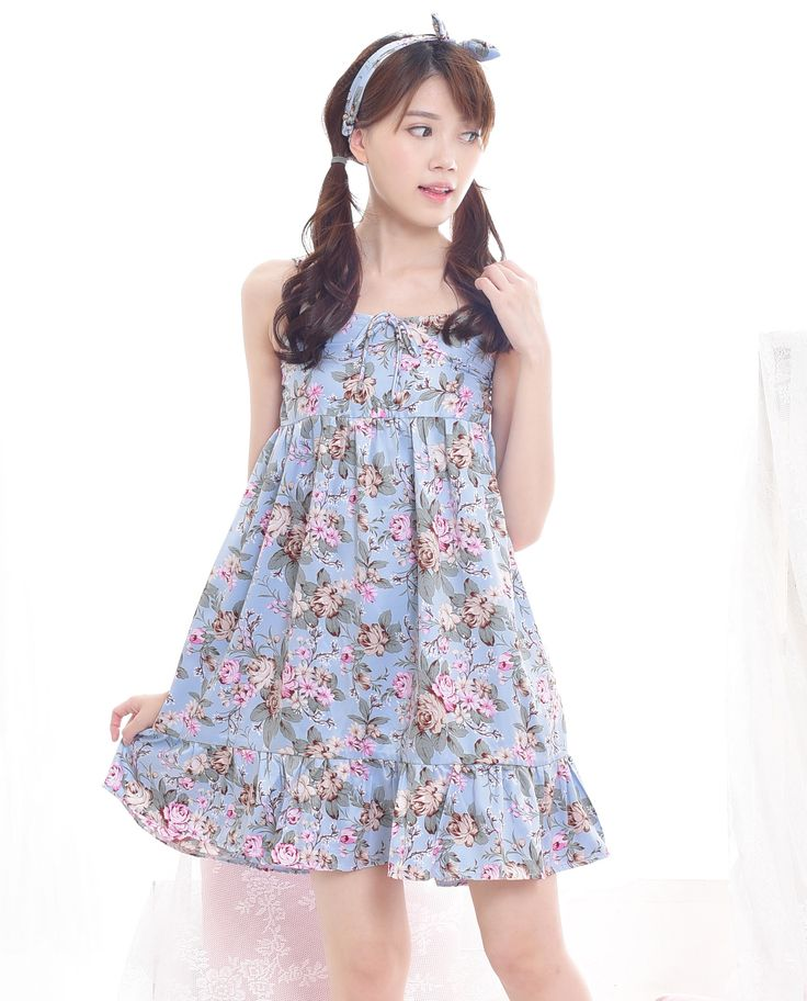 $16. Shop cute woman floral babydoll dress in baby blue color. Perfect for spring and summer. Jual dress babydoll floral dengan tali spaghetti. #kawaii #japanese #asian #fashion #style