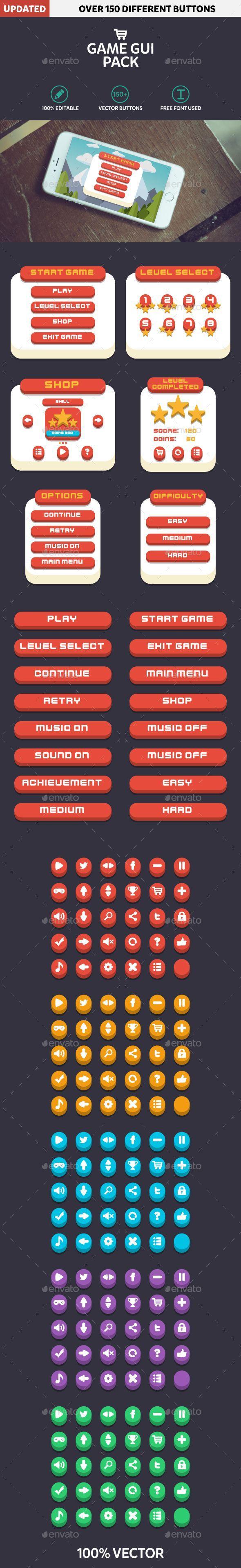Mobile Game GUI Pack Flat Modern Template Transparent PNG, Vector EPS, AI Illustrator. Download here: https://graphicriver.net/item/mobile-game-gui-pack-flat-modern/17091409?ref=ksioks