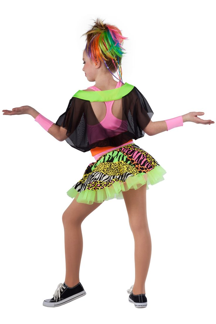 5370 Girls Just Wanna Have Fun | Hip Hop Funk Dance Costumes | Dansco 2015 | Hot pink spandex short unitard with racer back. Separate black mesh, lime and orange spandex top with back cut-out. Multi-color animal printed spandex skirt with ruffled lime chiffon underskirt. Wrist cuffs included.