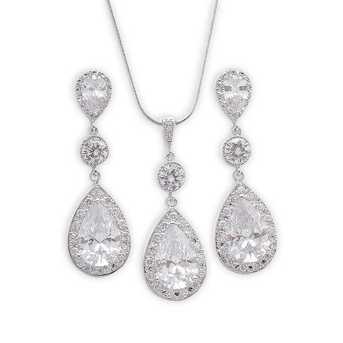 Bridal Jewellery Long Dangle Earrings and Crystal Pendant Jewellery Set