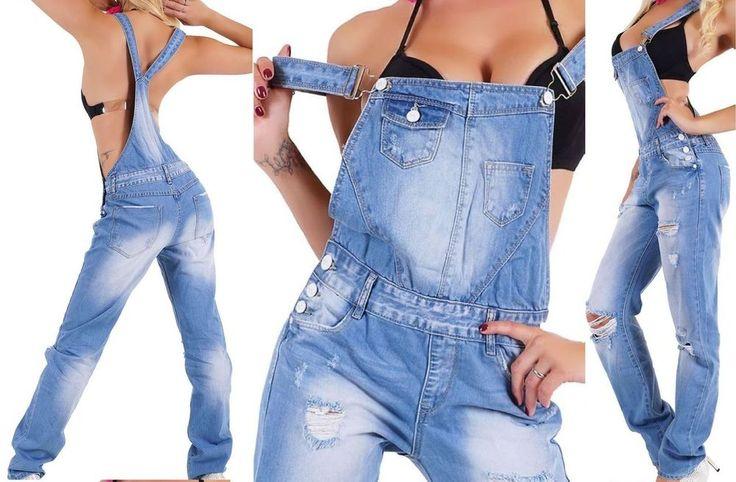 NEU Damen Latzhose Jeans Relaxed Boyfriend 34 36 38 40 42 XS S M L XL Latzjeans