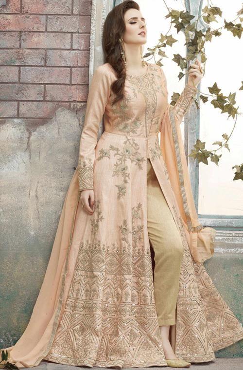 93f58b45c4 Light Peach Designer Heavy Embroidered Silk Anarkali Suit |  Indian/Pakistani Dresses from Saira's Boutique | Silk anarkali suits, Anarkali  suits, Anarkali