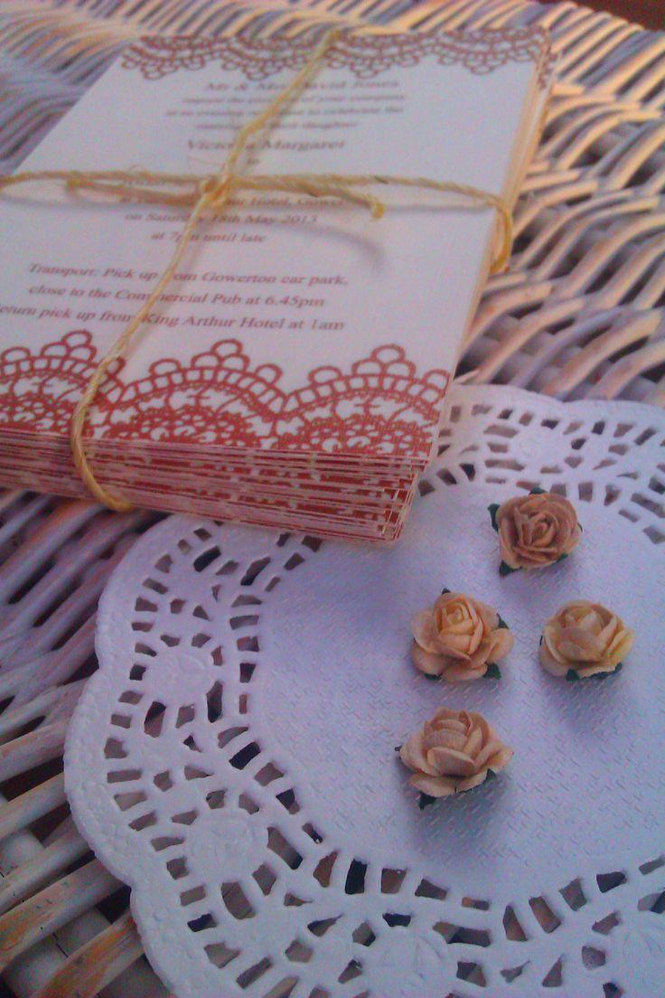 Lace evening invitations