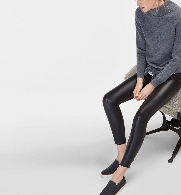 Massimo Dutti Soft Leather BLACK NAPPA Women TROUSERS Sz 10 AUS
