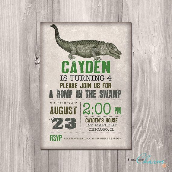 Crocodile Birthday Invitation Alligator by StyleswithCharm on Etsy, $12.00