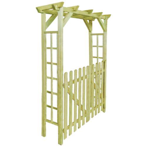Wooden-Garden-Gate-with-Arch-Trellis-Arbour-Roses-Climbing-Support-Pergola-Door