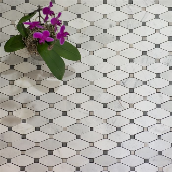Floor Decor Ideas Lake Tile And More Store Orlando: Diamond Mosaics- Bianco Carrara With Basalt Grey Tile