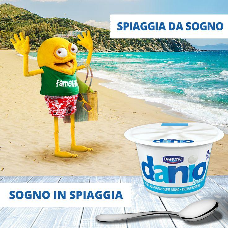 Sogno o son desto? Il senso di fame arriva presto! #famelik #yogurt #daniosnack #sogno #mare #spiaggia