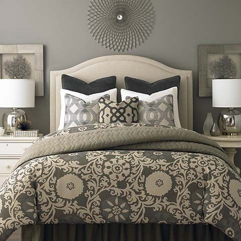HGTV Home® Custom Upholstered Vienna Arched Headboard by Bassett Furniture. The shaped border that can be welted or trimmed with Antique Brass or Nickel nail head. The headboard can also be tufted.