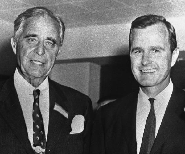 President George H. W. Bush with his dad Prescott Sheldon Bush (1895-1972), who  was a Wall Street executive banker and a United States Senator, representing Connecticut from 1952 until January 1963.