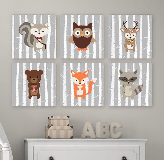 Woodland pépinière Art  Cet ensemble de six-estampe comporte six images danimaux de la forêt : Ecureuil, owl, cerf, ours, renard et raton laveur sur
