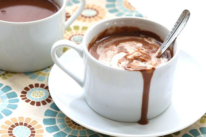 Chai spice drinking chocolate stirred