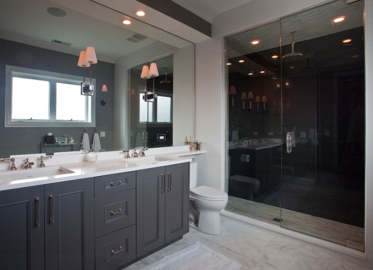 Classic with a Twist, Traci Connell Interiors - Counter Shelf Extending Over Toilet