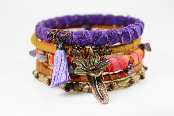 Purple orange ochre Bohemian bracelet stack door WrappedInLeather, $48.95