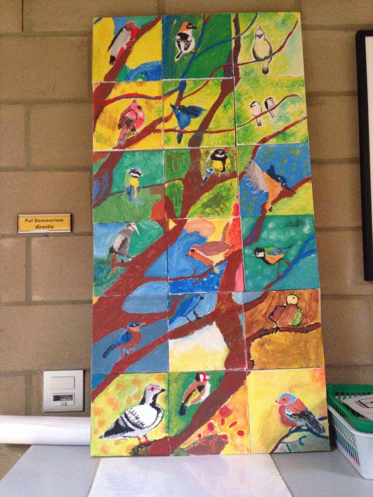 Lente groepswerk op canvas gemaakt met het 5e leerjaar