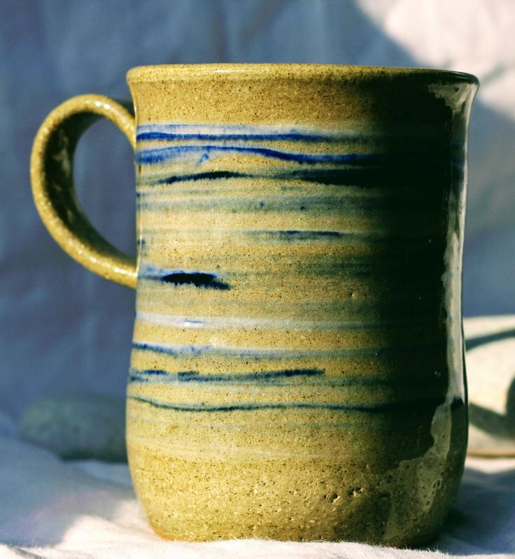 Pottery Mug, Stoneware clay,hi fired, cobalt blue and white slip decorated Blue, Microwave and Dishwasher-safe, Wheel-Thrown by FireonClay on Etsy