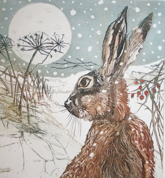 Moongazing Hare  this Hare in snow is an by SallyWinterEtchings