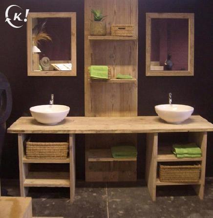 Badkamermeubel gemaakt uit steigerhout beautiful bathroom pinterest tables - Badkamermeubels vintage ...