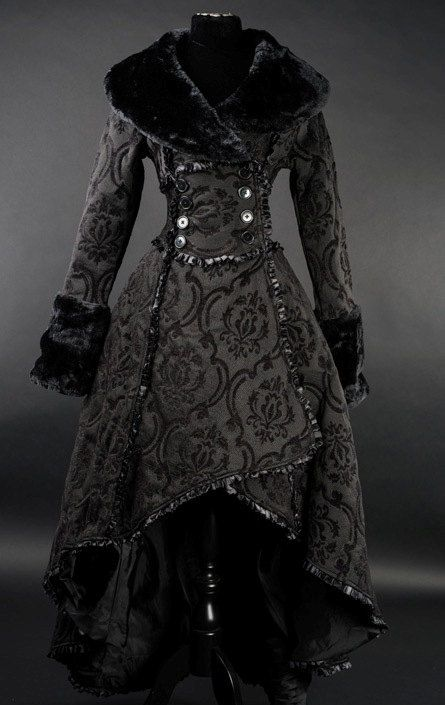 Two Layered Black Steampunk Coat Victorian Style Costume Piece - Made to Order -