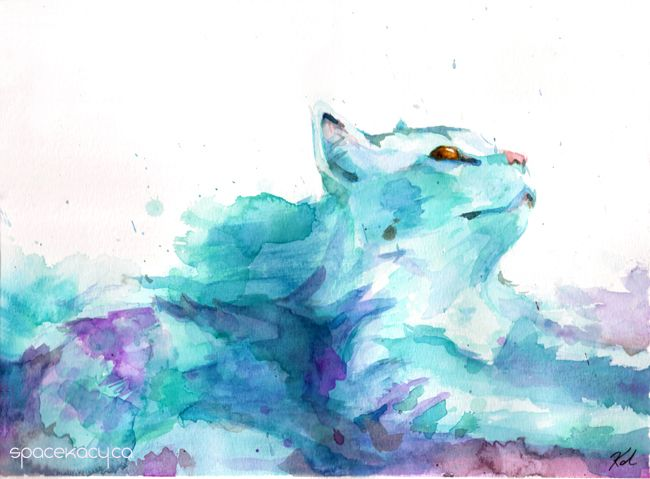 """Dawning"" by Kacy Doucet https://www.etsy.com/ca/listing/522148535/watercolour-art-print-blue-cloud-cat-pet?ref=shop_home_active_4"