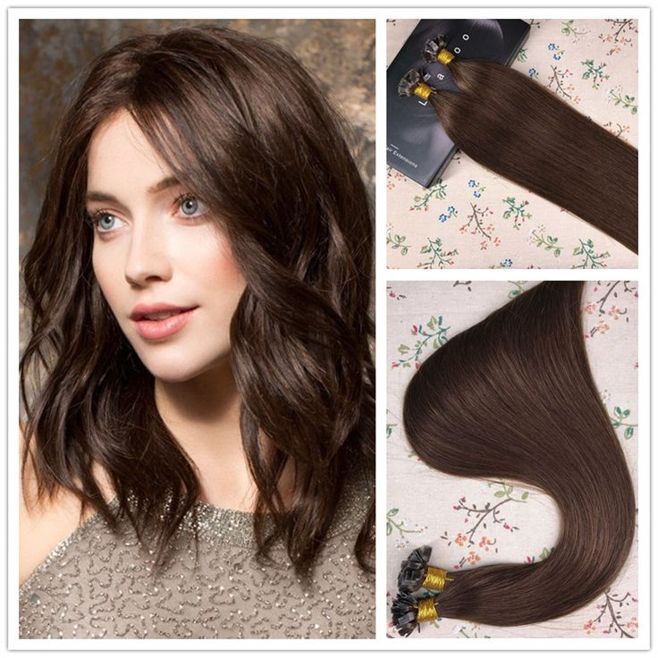 Laavoo Flat Tip Pre Bonded Fusion Keratin Remy Human Hair Extensions #4 Chocolate Brown 1g/S 50g Per Pac