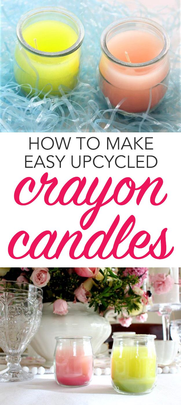 Turn old crayons into beautiful new candles with this easy crayon candle idea