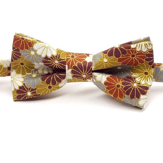Men's Fall Bow tie,  Burgundy Bow tie, Copper Bow tie, Gold Bow tie, Fall Family Photoshoot, Fall Wedding by FlyTiesforFlyGuys