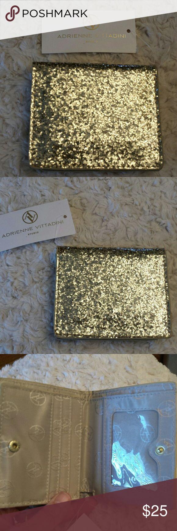 Adrienne Vittadini NWT Gold Glitter Fold Wallet Adrienne Vittadini NWT Gold Glitter Fold out Wallet, Snap closure 3 Slots inside, ID Holder Inside, Bill Slot inside Adrienne Vittadini  Bags Wallets