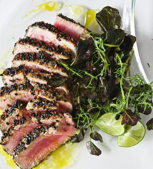 Sesame Seared Tuna with Lime Ginger Vinaigrette ~ https://steamykitchen.com