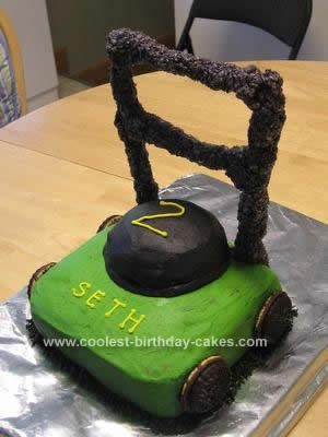 Homemade  Lawn Mower Birthday Cake Design