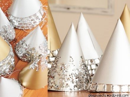 DIY silver and gold party hats