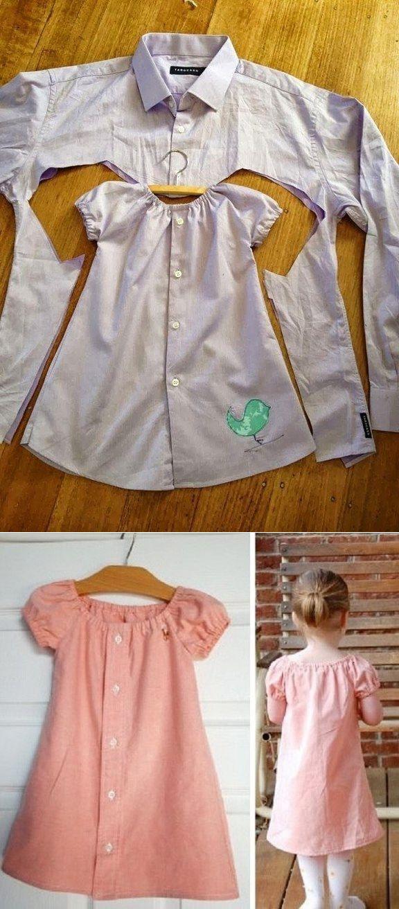 Милое платье из папиной рубашки