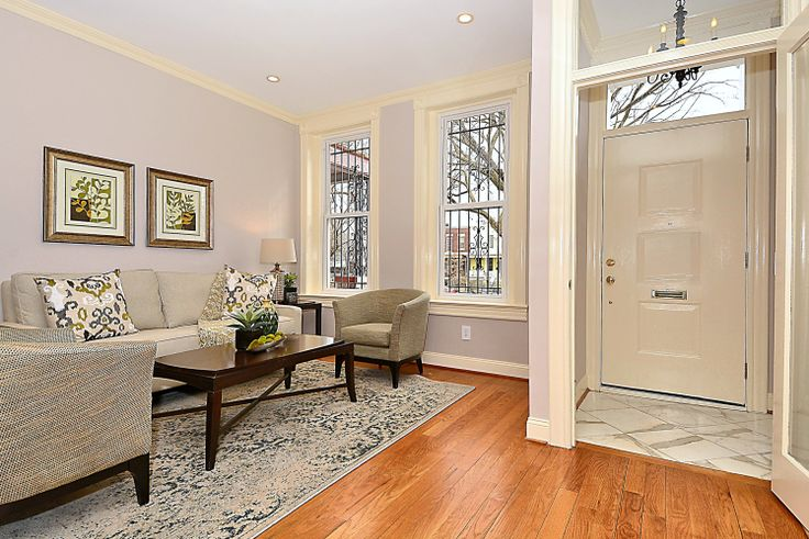 Row House Foyer : Foyer and living room classically renovated capitol hill