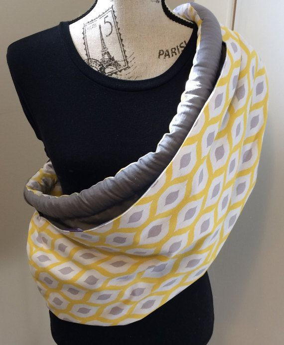 Baby Sling: Yellow & Grey 100% Cotton. by LoveGrammaBaby on Etsy