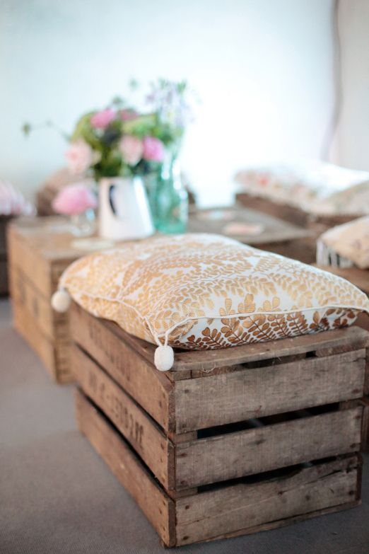 Rustic wedding crate seating with gold and white cushion // Dasha Caffrey Photography // The Natural Wedding Company