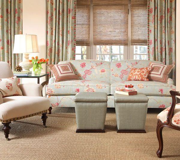 Paradise Fabric Collection. Image: calicocorners.com. #living_room #aqua #ottomans