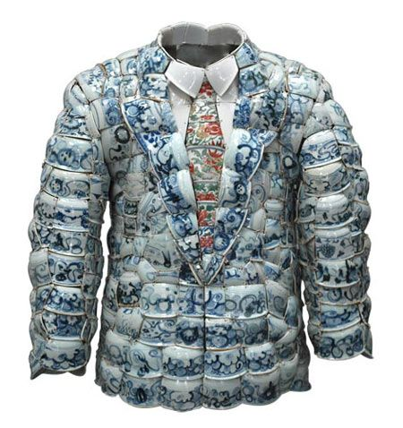 Jacket front made from Porcelain Fragments from the Ming and Qing Dynasties