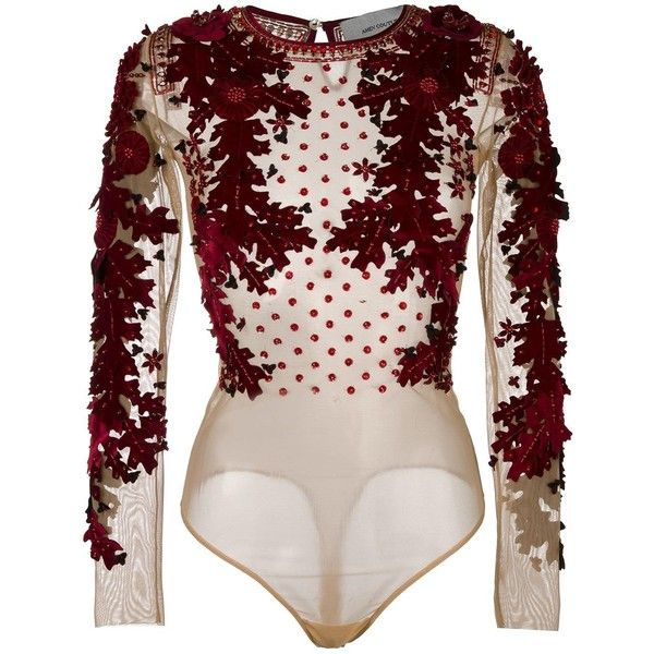 Amen floral applique blouse (£500) ❤ liked on Polyvore featuring tops, blouses, bodysuits, body, body suits, pink floral blouse, bodysuit blouse, flower print tops, body suit and floral blouse