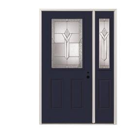 Pella Half Lite Decorative Glass Left Hand Inswing Prefinished Naval Fiberglass Prehung Entry Door With Right Sidelight Products Entry Doors Entry Door Wi