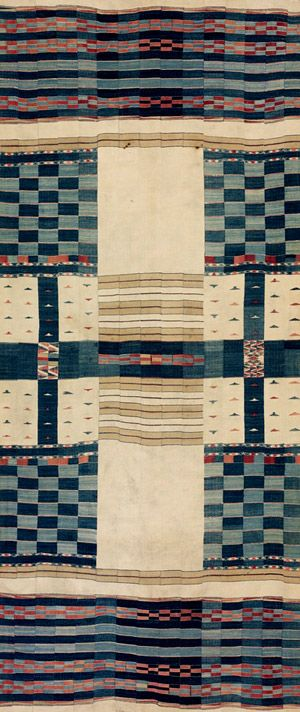 African chieftan blanket, 19th century. Fulani people (Mali or Ghana). Cotton, wool. Beautiful, authentic colors