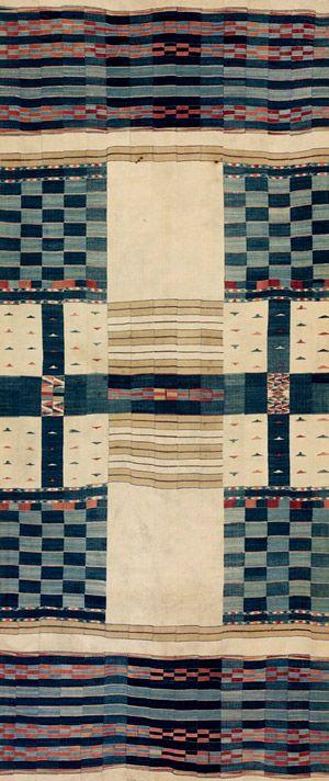 African chieftan blanket, 19th century. Fulani people (Mali or Ghana). Cotton, wool