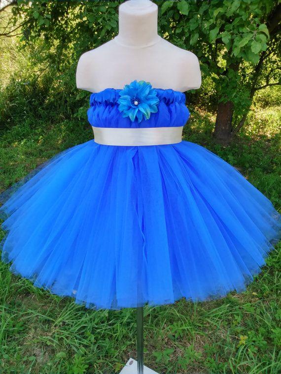 Flower girl tutu dress in royal blue – wedding tutu dress – girl tutu dress – baby tutu dress – party tutu dress – birthday tutu dress