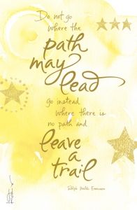 Do not go where the path may lead, go instead where there is no path and leave a trail.~Ralph Waldo Emerson