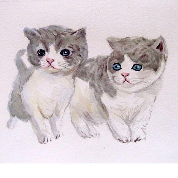 Custom couple kittens portrait Pet couple portrait. by deodea, $40.00