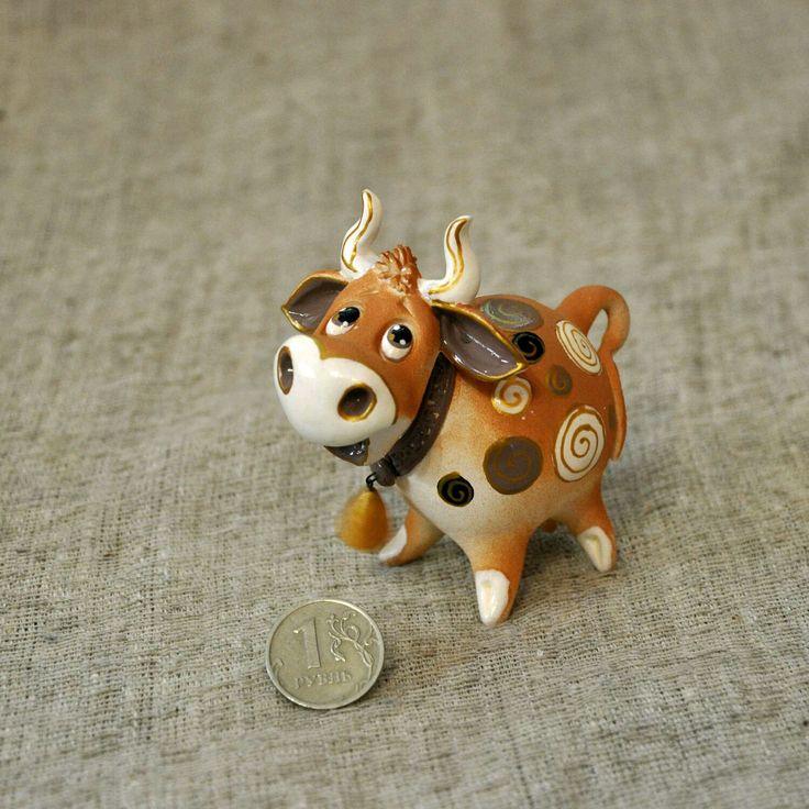 Купить Корова-бубенец, достаток в доме. - корова, фигурка, корова керамика, коровка, корова на удачу
