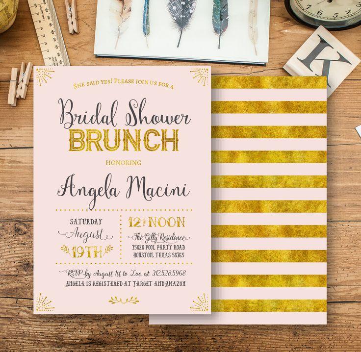 Bridal Shower Brunch invitation Gold Chevron bridal shower