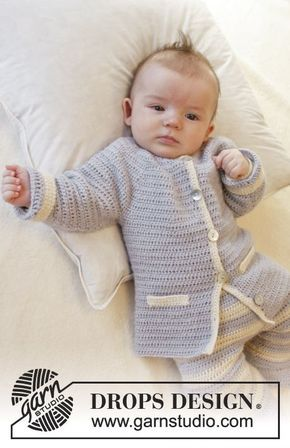 """Crochet DROPS jacket with round yoke and pocket edges in """"Alpaca"""". Size 0-4 years. Free pattern by DROPS Design."""