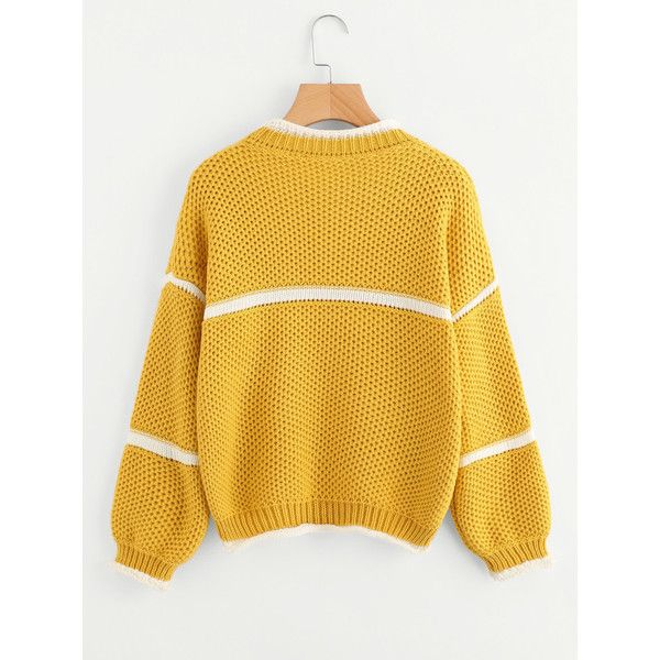 Waffle Knit Lantern Sleeve Striped Sweater ($19) ❤ liked on Polyvore featuring tops, sweaters, stripe top, waffle sweater, waffle knit top, striped top and stripe sweater