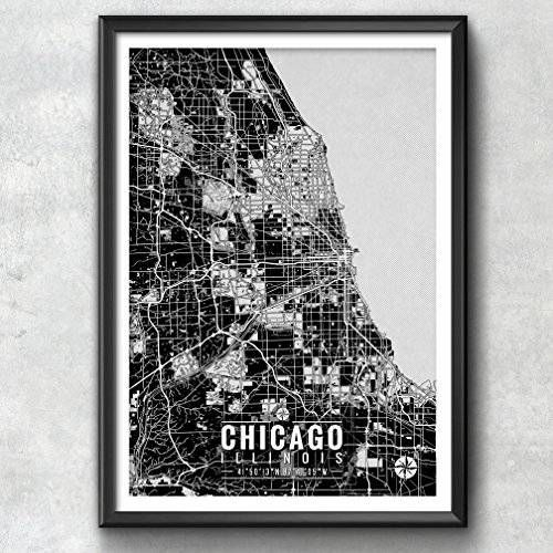 Chicago Map with Coordinates, Chicago Map, Map Art, Map Print, Chicago Print, Chicago Art, Chicago Gift, Chicago Decor, Chicago Poster, $8.00 -